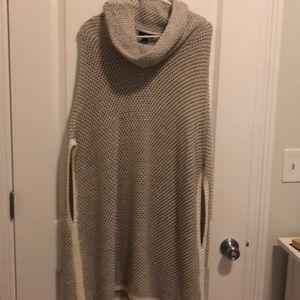 Tan sweater poncho